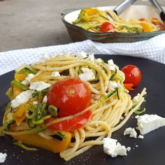 Pepperonata Spaghetti w/ sweet bursting cherry tomatoes and creamy feta cheese.