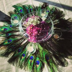 my centerpieces! Peacock theme centerpiece using our fishbowls #theterraceclub #weddingvenue