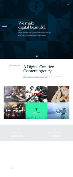 Crafted is a top New York City based digital-first design agency producing beautifully crafted experiences and campaigns for startups and fortune 100 brands. Design Web, Site Design, Web Design Inspiration, Design Agency, Website Template, Templates, Digital, Web Design, Stencils