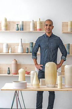 Eric Landon of Tortus Copenhagen in the Tortus Boutique. Handmade danish ceramics from Tortus Copenhagen. www.albertalagrup.com