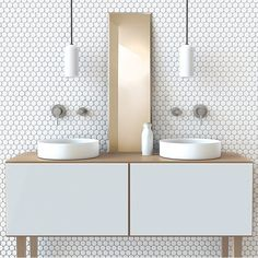 Minimal | brass | white | pattern | hexagonal | mosaic | contemporary | vanity | symmetry