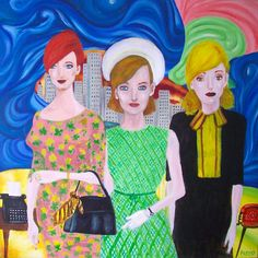 Mad Men Girls, cuadro de Pacco, óleo sobre tela.