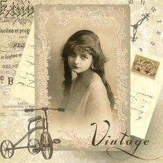 Vintage girl digital collage p1022 Free to use <3