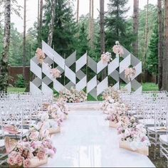 White Mirrored reflection aisle runner engagement decorations   Etsy