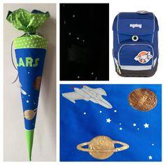 Schultüte aus Stoff, Planeten und Raumschiff Flieger, Metalloptik, leuchtende Milchstraße, Saturn Pluto Jupiter, Weltraum