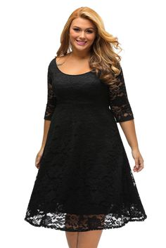 Robe Noire Grandes Taille Dentelle Fleur Confort et Flare Pas Cher www.modebuy.com @Modebuy #Modebuy #Noir
