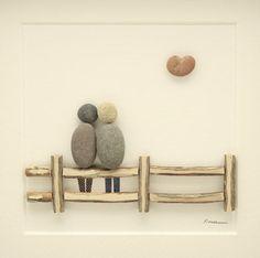 Foto di arte di ghiaia coppia seduti su una recinzione