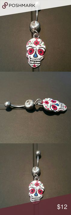 "NEW  Sugar Skull Dangle Charm Navel Curve Ring New, never used (as that is very unsanitary, even when well cleaned, & often used ones have small nicks which can tear at delicate piercing linings) very sexy  Day of the Dead sugar skull dangle. CZ crystal stone in bottom ball. Standard 14g, 7/16"" surgical stainless steel curved barbell / banana for navel (belly button) piercings.  Lots more body jewelry in my closet!  Thank you for visiting, and happy poshing!! :)  SORRY, NO TRADES  BUNDLE…"