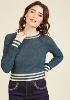 Midtown Mixer Sweater in Navy by ModCloth - Blue, Blue, Solid, Casual, Spring, Better, Long Sleeve, Sweater, Crew, ModCloth Label, Woven, Short