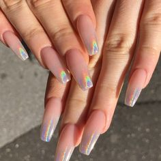 Beautiful holographic chrome ombré Something we done before but I'm so in love ❤️💅💅. Nails for Bryony 😘 Aycrlic Nails, Hot Nails, Hair And Nails, Acrylic Nails Chrome, Coffin Nails, Crome Nails, Milky Nails, Hot Nail Designs, Graduation Nails