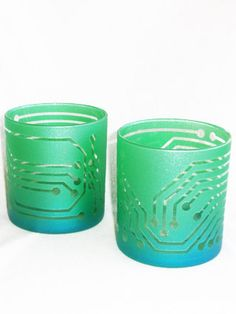 Circuit Board Whiskey Glasses . Sandblast Etched and Hand Painted.