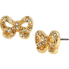 Betsey Johnson Sugar Critters Gold Bow Studs ($25) ❤ liked on Polyvore featuring jewelry, earrings, accessories, betsey johnson, gold, pave jewelry, gold jewellery, gold post earrings, gold jewelry and gold pave earrings