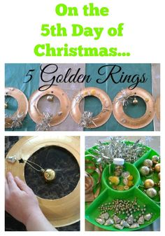 On the 5th Day of Christmas set up this Invitation to Make 5 Golden Rings Activity for your Kids.