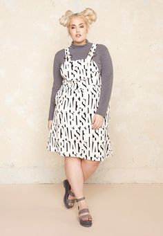 Alphabet Pinafore Dress £55.00  Plus Size Fashion ♥ | One One Three | Sizes 18-26