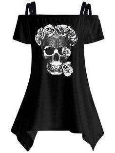 Specifications Product Name: Open Shoulder Skull Printed Asymmetric Hem Short Sleeve T-Shirt Weight: 180(g) Collar&neckline: Open Shoulder Sleeve: Short Sleeve Material: Cotton Blend Embellishment: Asymmetric Hem Pattern Type: Printed Occasion: Casual Season: Summer Size chart as a reference: Length Bust m Inchcm 2052 3794 l Inchcm 2153 3998 xl Inchcm 2154 40102 2xl Inchcm 2255 42106 All dimensions are measured manually with a deviation of 2 to 4cm. More Pictures