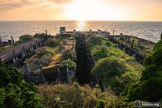 """Gunkanjima (軍艦島, Battleship Island) officially known as Hashima Island (端島) is an abandoned island in Nagasaki """"The island was populated from 1887 to 1974 as a coal mining facility. The island's most. Hashima Island, Desert Places, Abandoned Cities, Mysterious Places, Nagasaki, Environment Concept, Battleship, Travel Goals, Cool Photos"""
