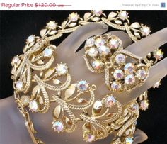 Big Sale Vintage AB Rhinestone Set Necklace Earrings Bracelet 3 pc Parure