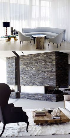 that mid-century modern flagstone fireplace is A M A Z I N G