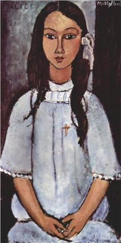 Alice by Amedeo Modigliani, 1915. Portrait. Expressionism. Statens Museum for Kunst, Copenhagen, Denmark.