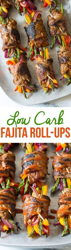 Zesty Low Carb Steak Fajita Roll-Ups - These healthy keto treats can either be a snack or a meal! #KetoDiet