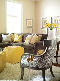 Living Room. See More. Decorating With Color Pale Yellow And Charcoal |  Color Scheme Ideas: Gray And Yellow