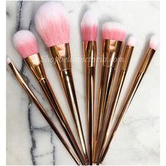 Rose Gold 7pc Makeup Eyeshadow Brush Set
