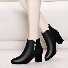 Women's Chelsea Boots Black Ankle Boots For Woman Thick High Heel Round Toe Winter Genuine Leather Shoes Black Chelsea Boots, Black Ankle Boots, High Heel Boots, Heeled Boots, Shoe Boots, Tall Boots, Black High Heels, Womens High Heels, Cute Shoes