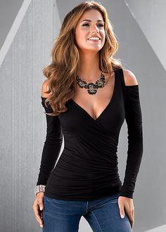 V-neck Long Sleeves Skinny Cross Wrap Shoulder Out Blouse