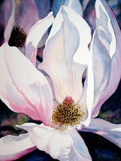 Original Watercolor Japanese Magnolia Painting by HeartsEase2