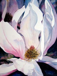 Original Watercolor Japanese Magnolia Painting by HeartsEase2