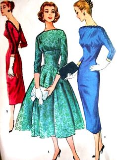 GLAMOROUS Slim or Full Skirt Dress Cocktail Party Pattern McCalls 3820 Low V Back Bateau Neckline Empire Style Bust 34 Vintage Sewing Pattern UNCUT-Authentic vintage sewing patterns: This is a fabulous original dress making pattern, not a copy. Motif Vintage, Vintage Dress Patterns, Vintage Dresses, Vintage Outfits, 50s Dresses, Party Dresses, 1950s Fashion, Vintage Fashion, Glamour Vintage