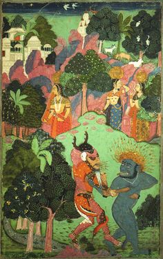 Demons and court ladies, Mughal miniature