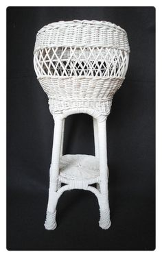 TALL Vintage White WICKER Fern or Plant Stand Holder by cookiebabe, $74.95