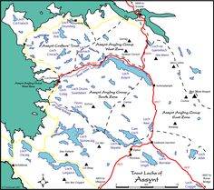 TroutQuest map of wild brown trout lochs in Assynt area, north west Sutherland.