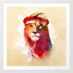 Gym Lion Art Print by Robert Farkas - $19.00