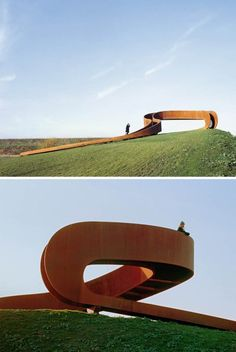Amsterdam-based firm NEXT Architects has created a spiraling sculptural staircase titled The Elastic Perspective that seemingly leads to nowhere, but in fact provides a lookout point with panoramic views. The looping oxidized-steel structure is located in an industrial precinct, near to railway tracks, sitting prominently on a grassy hillside on the outskirts of Rotterdam, appears to be endless but instead leads at its highest point to an unhindered view of the city's skyline in the…