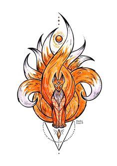 Kitsune ~ Art Print by Deidra Lissa - X-Small Naruto Tattoo, Anime Tattoos, Body Art Tattoos, Fox Tattoos, Sleeve Tattoos, Deer Tattoo, Raven Tattoo, Tattoo Ink, Arm Tattoo