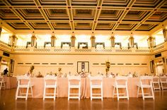 Soldiers & Sailors Memorial Hall & Museum | Pittsburgh Wedding Venue | Wedding Reception | Grand Ballroom | Head Table | October Wedding | Heather and Zack | Fall Wedding | Photo By The Leeann Marie Collective | Flowers by Donna Delestienne | String Lights by Gray Phoenix Design