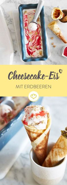 Kuchen und Eis in einem? Gönn dir Strawberry-Cheesecake-Eis, wie es niema… Cake and ice cream in one? Treat yourself to strawberry cheesecake ice cream like no one else does. Without long preparation time it goes off into the ice machine. Cheesecake Ice Cream, Strawberry Cheesecake, Cheesecake Recipes, Homemade Cake Recipes, Homemade Baby Foods, Baby Food Recipes, Food Cakes, Frozen Yoghurt, Strawberry Ice Cream