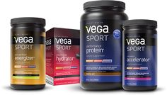 Set of Vega Sport! Vega Sport energizer, Hydrater, Protein and Acclerator. Best Post Workout Drink, Workout Drinks, Pre Workout Protein, Vegan Protein Powder, Vegan Vegetarian, Vegan Food, Vegan Options, Sports Nutrition, Nutritional Supplements