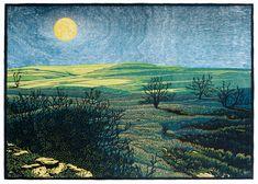 "✨ Nick Wroblewski, American - The Moon We know, color woodcut, 19"" x 27"""