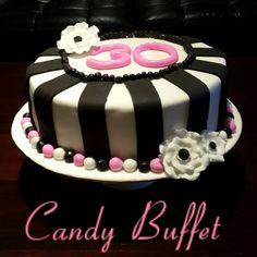 Cherise pink, black & white 30th birthday vake by www.candybuffetsa.co.za