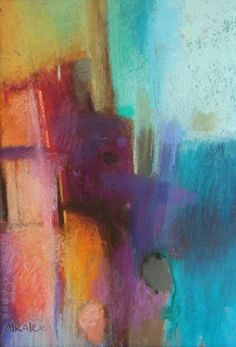 Marian Alexopoulos | A Pastel painting in the Abstract style with main colour being Blue Orange and Red and titled Venom