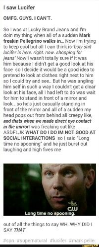 @liony38 ...And we thought it was funny you sniffed Misha Collins' armpit...