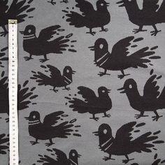 Pulubileet harmaa, kotimainen luomupuuvillaneulos / Pigeon party organic cotton jacquard knit / Käpynen