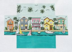 Needle Crossing Tropical Cottages Handpainted Brick Cover Needlepoint Canvas | eBay