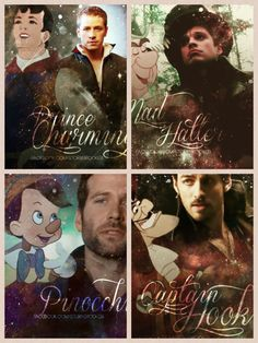 Once upon a time challenge.   day 1:   favorite male character - could not just pick one, so I say these these four and robin hood also Henry