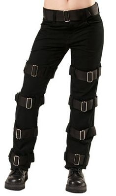 Manacle Jeans Denim Black - Mens gothic, industrial and cyber pants.