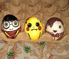 Easter Project. Harry Potter in his Quidditch uniform, Pikachu, and the 11th Doctor.