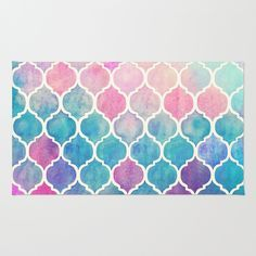 Buy Area & Throw Rugs with design featuring Rainbow Pastel Watercolor Moroccan Pattern by micklyn and adorn your home with both style and comfort. Available in three sizes (2' x 3', 3' x 5', 4' x 6').